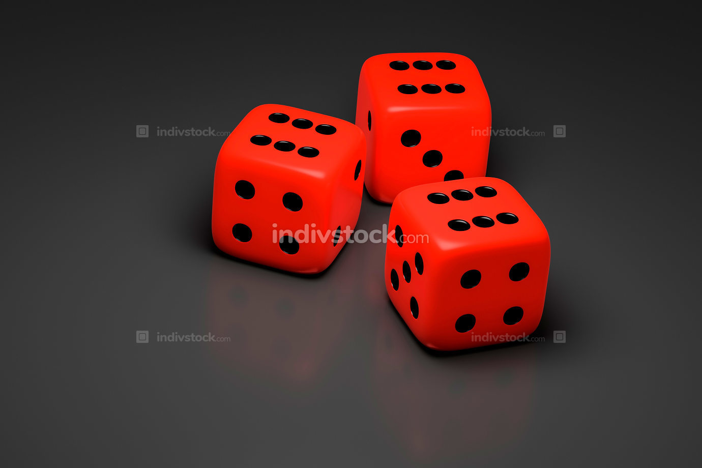 three red dice on a gray background 3D illustration