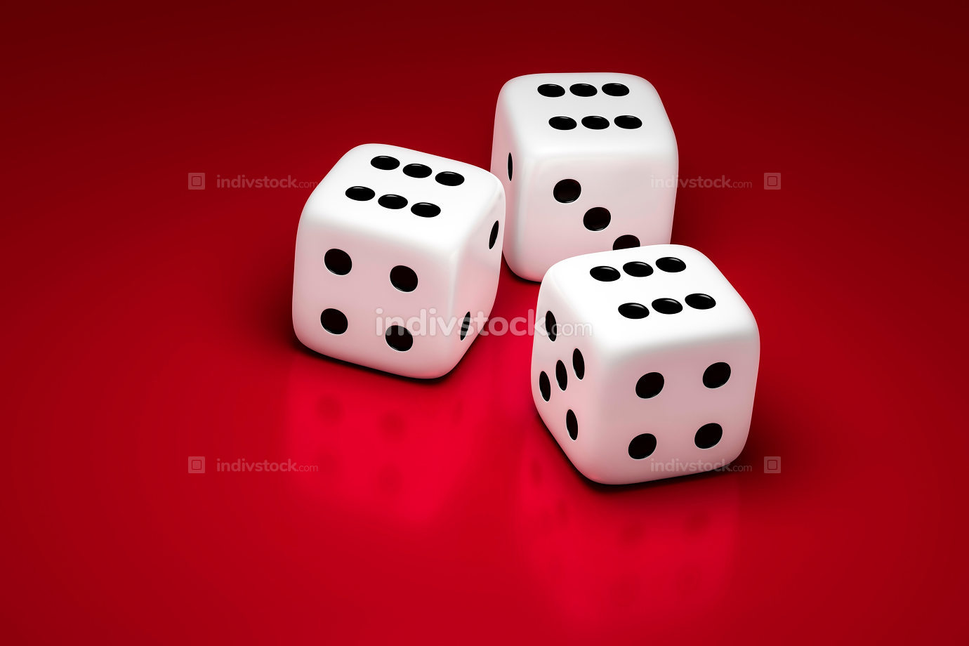 three white dice on a red background 3D illustration