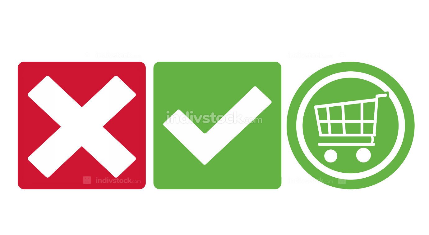 tick check shopping cart icon buttons green and red