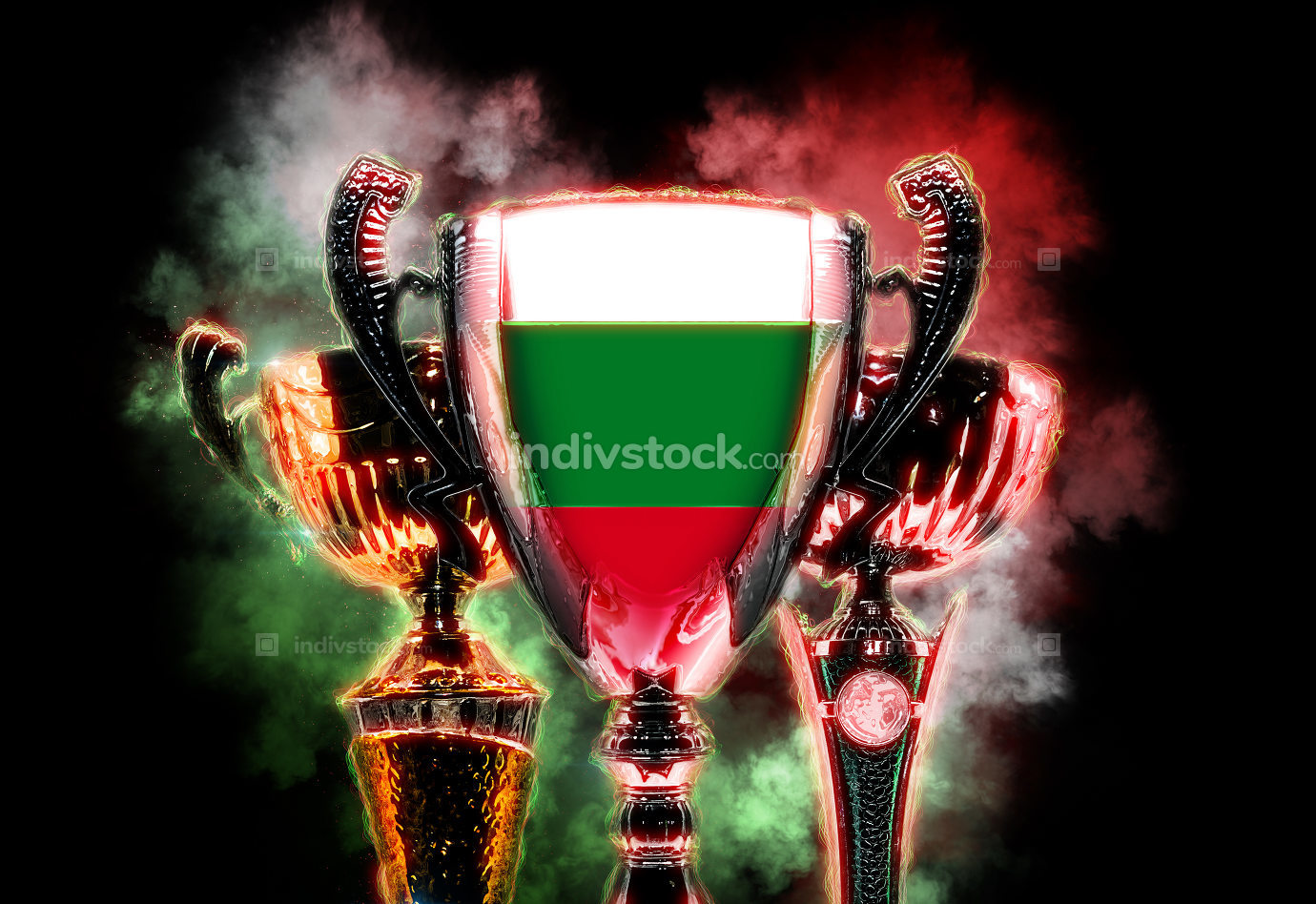 Trophy cup textured with flag of Bulgaria. Digital illustration