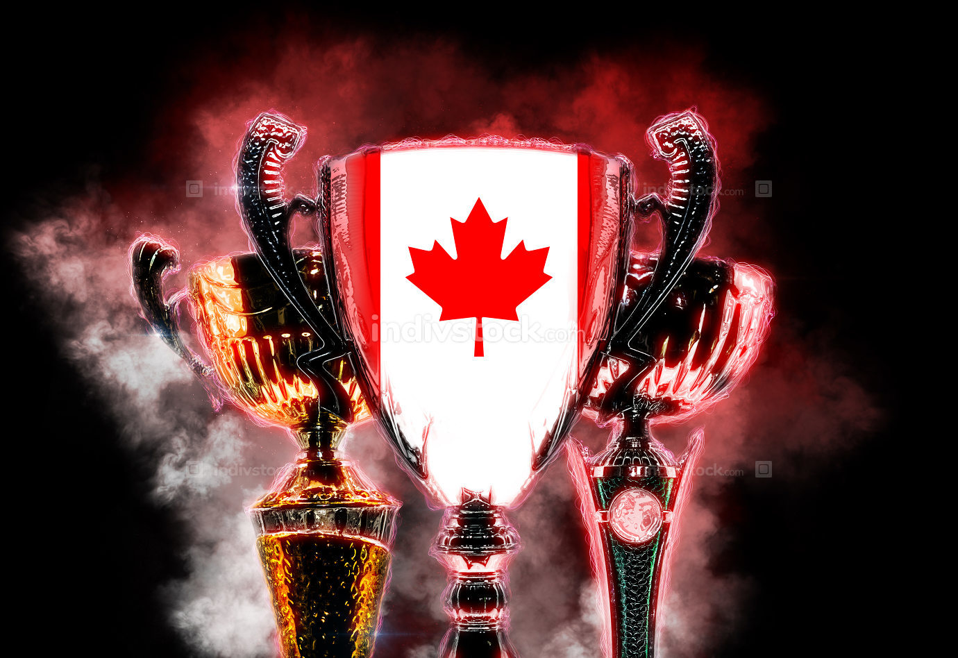 Trophy cup textured with flag of Canada. Digital illustration