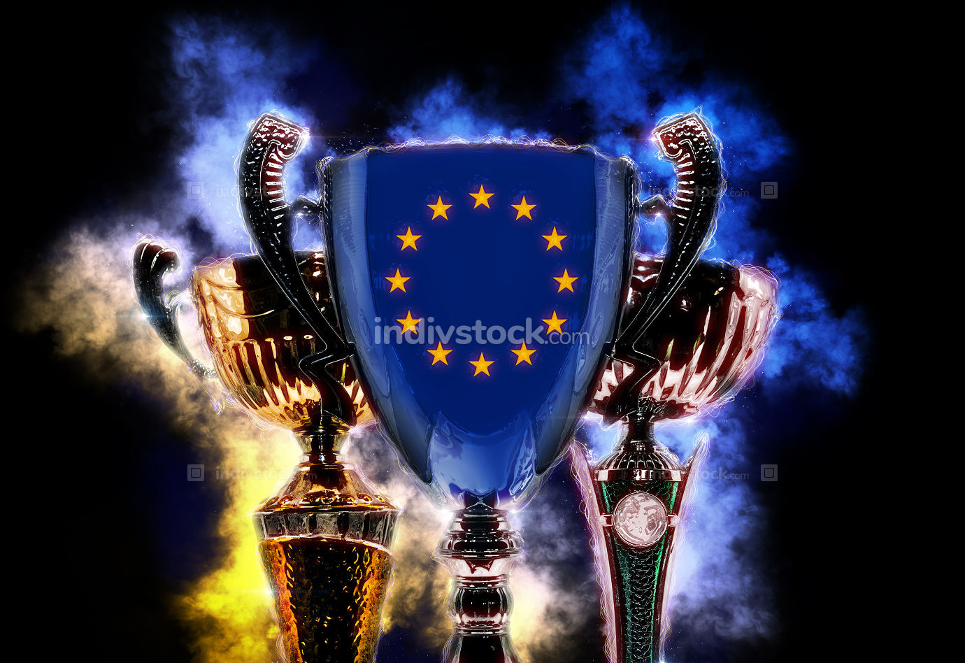 Trophy cup textured with flag of European Union. Digital illustr