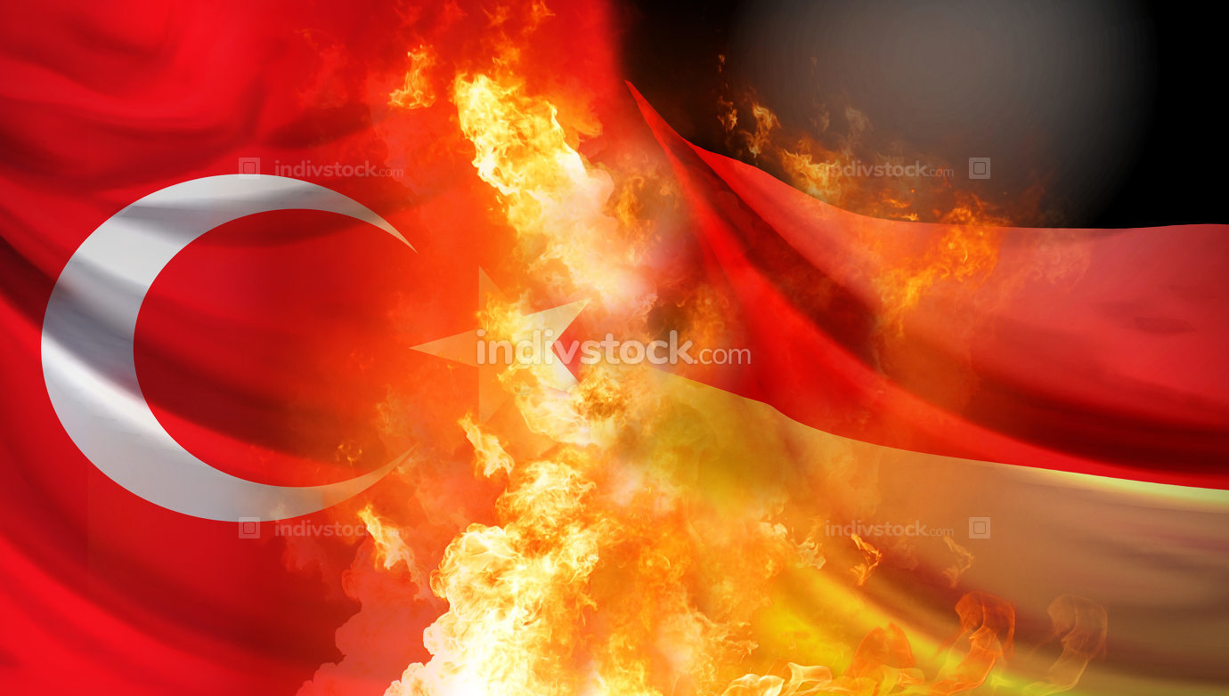 Turkey and Germany crisis 3d rendering background with fire and