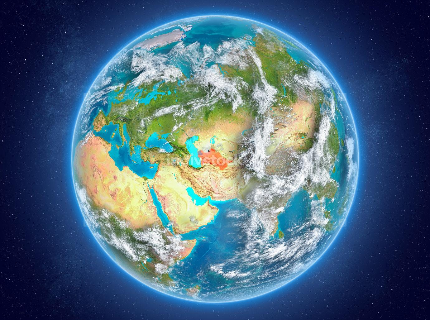 Turkmenistan on planet Earth in space