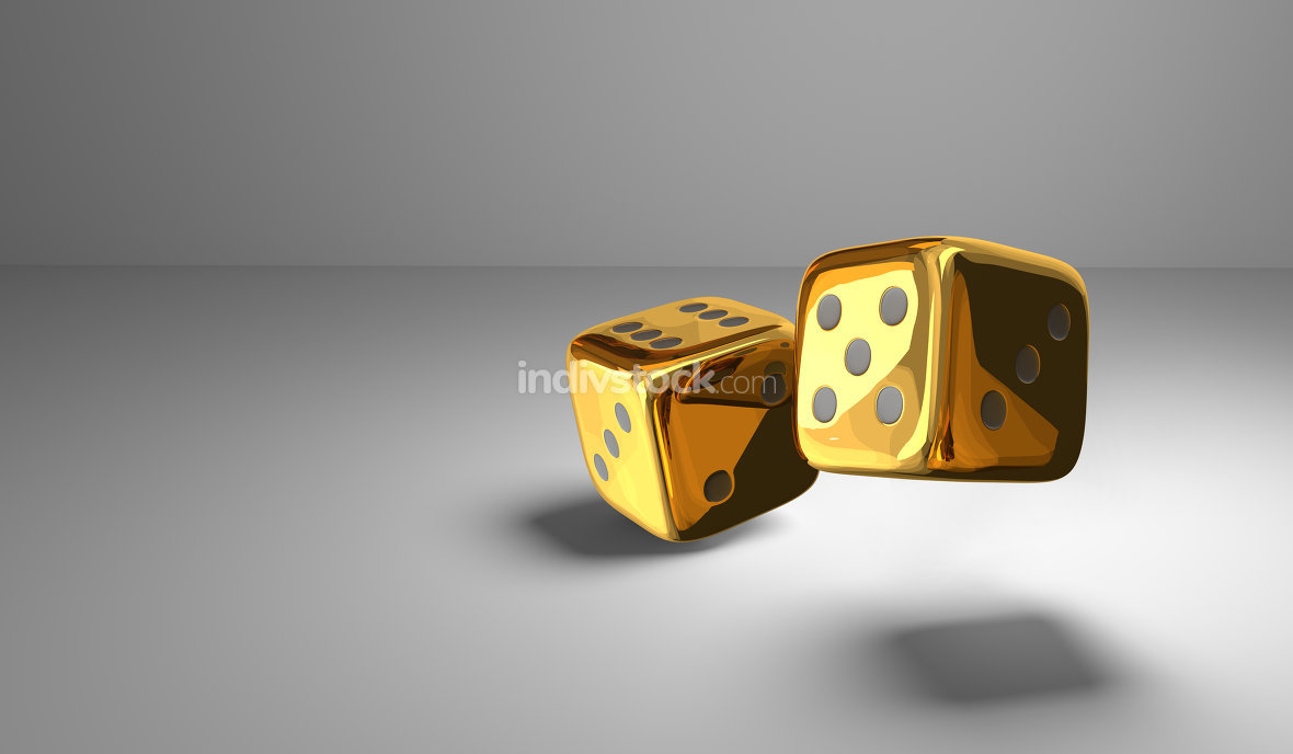 two  golden metallic dice 3d render