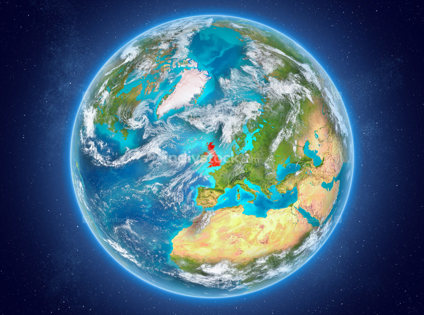 United Kingdom on planet Earth in space