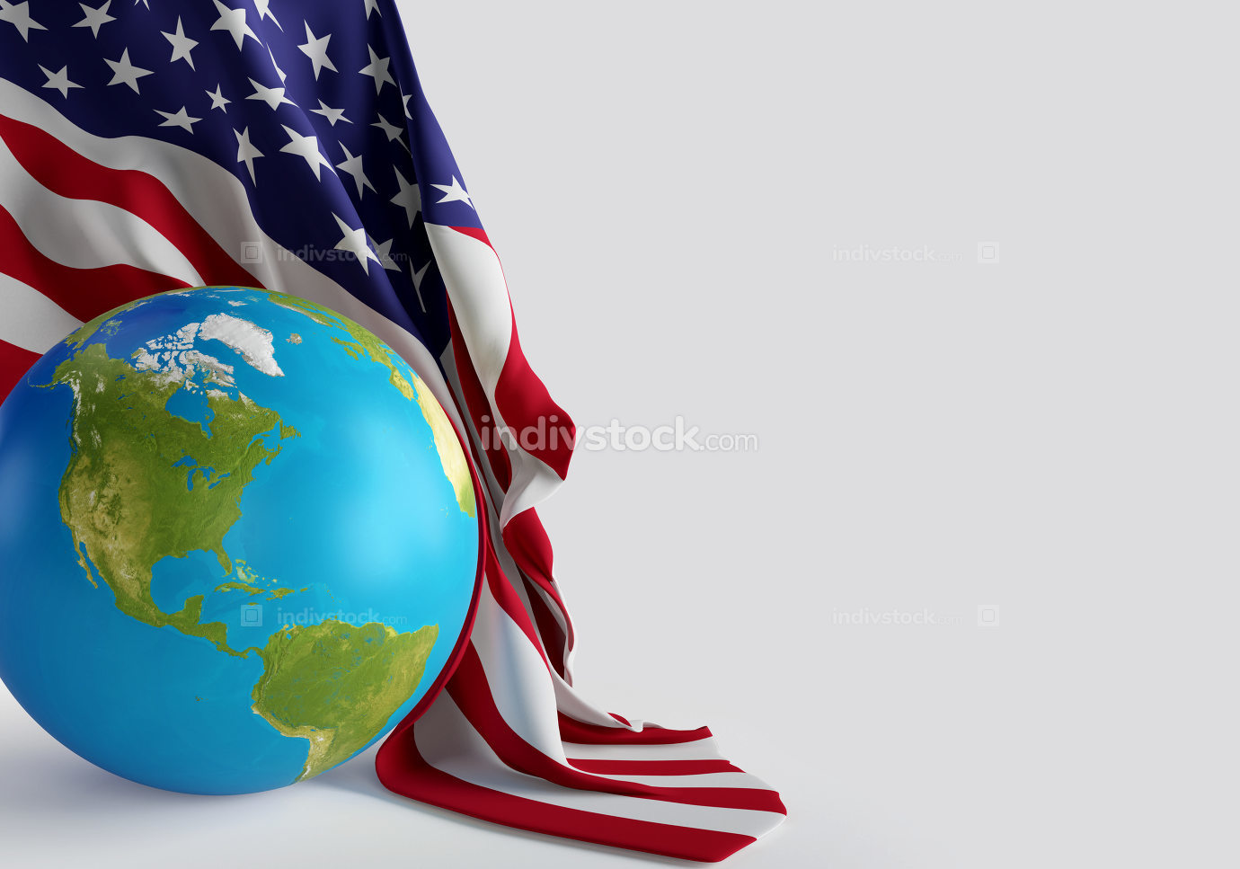 USA United states of America world globe with american flag 3d-i