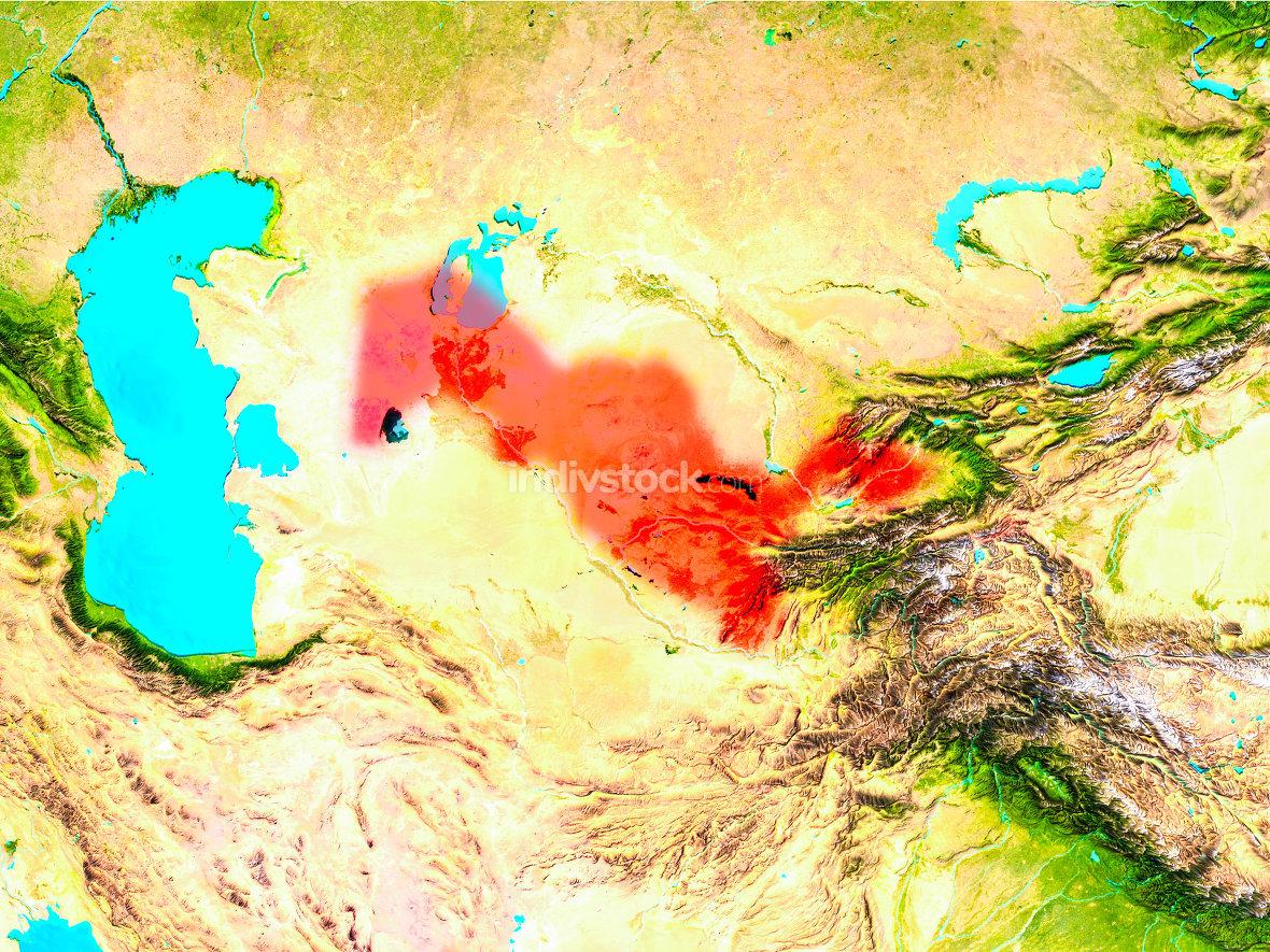 Uzbekistan in red on Earth