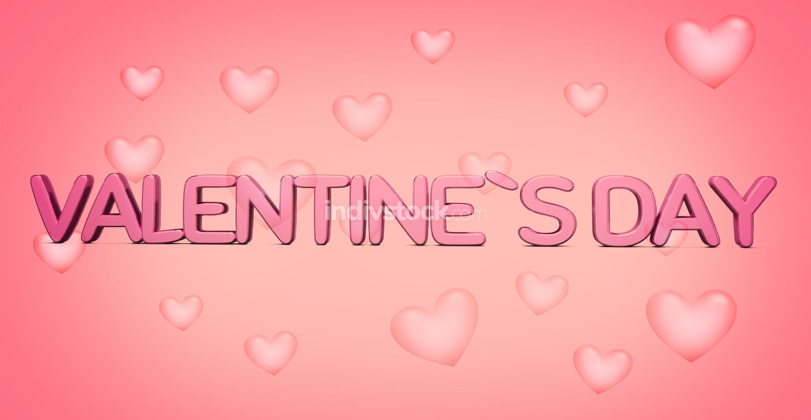valenentines day 3d render bold letters with hearts background 3