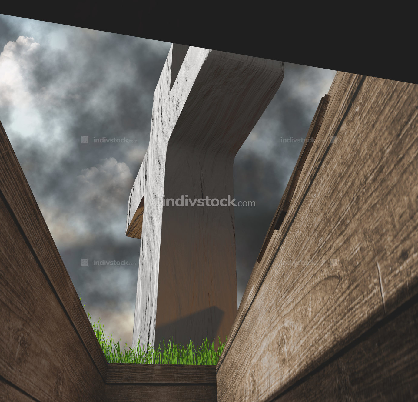 view from coffin in a grave on a graveyard 3d-illustration