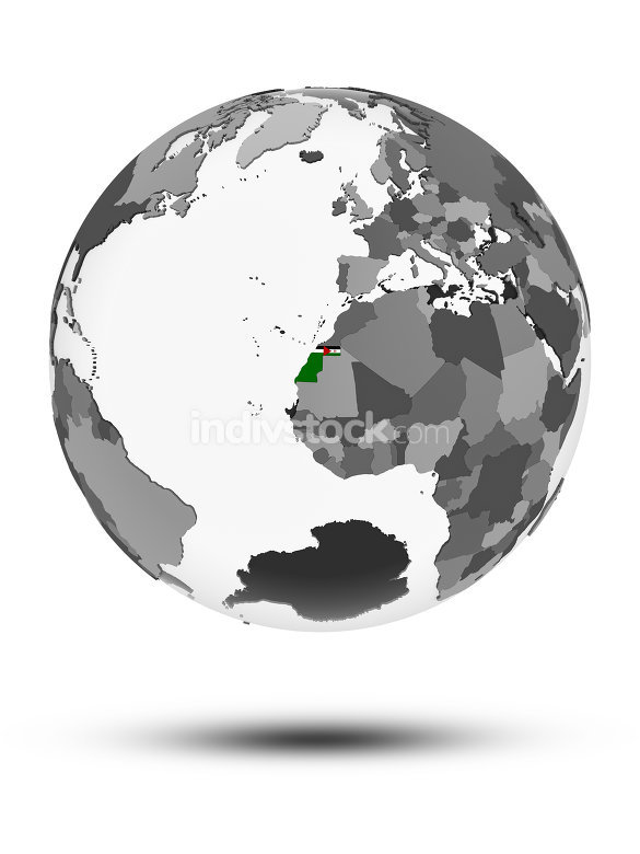 Western Sahara on political globe isolated
