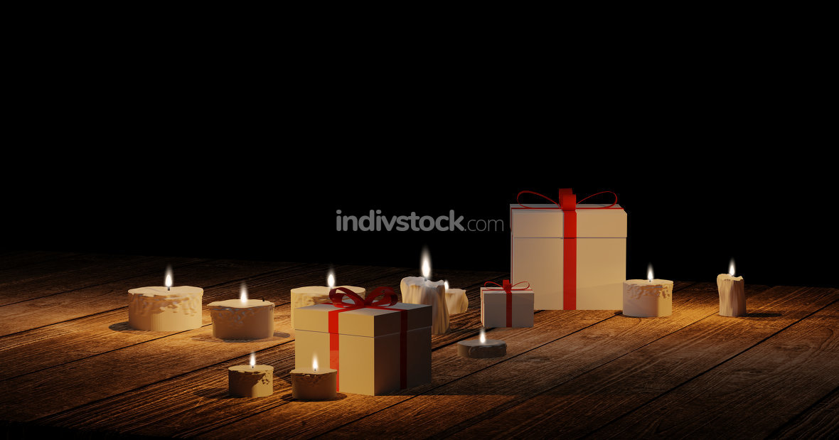 white gift boxes with red box and candles with candle lights on