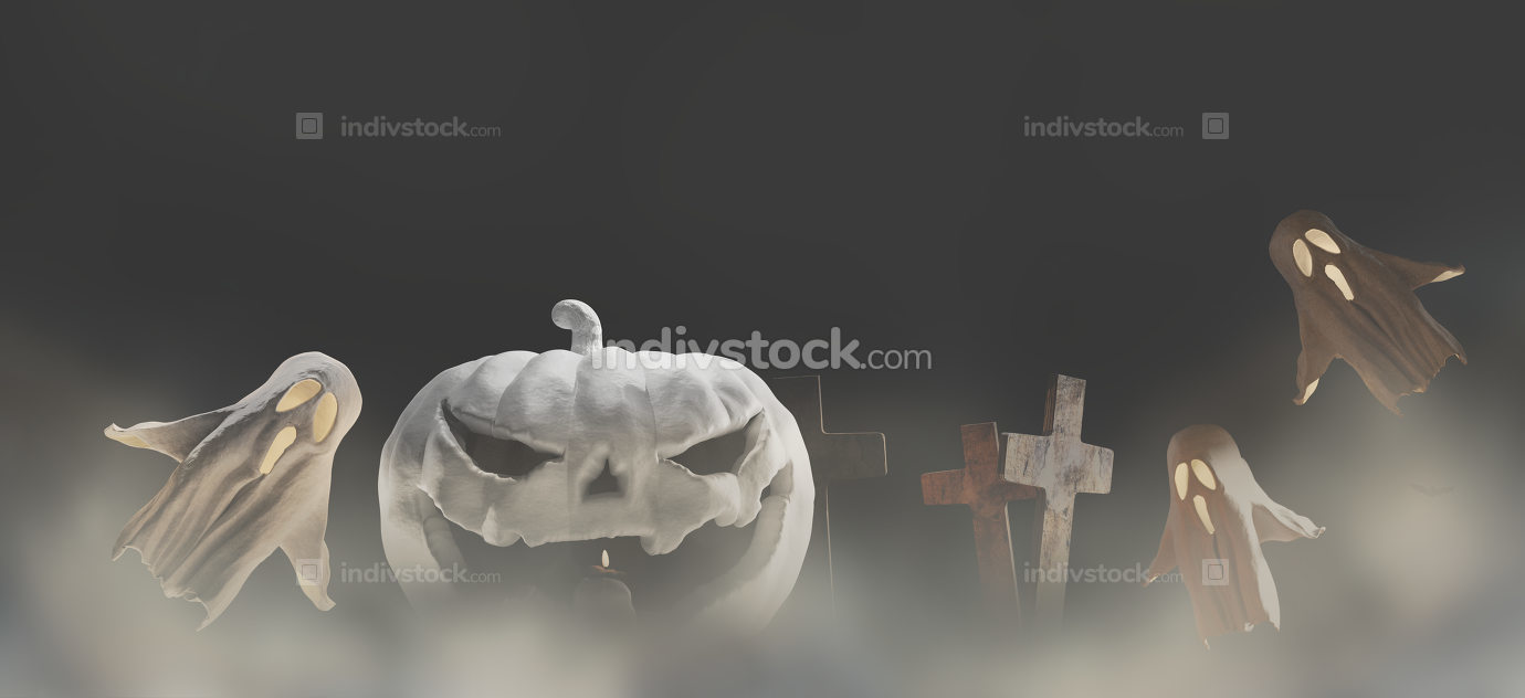 white Halloween pumpkin dark fog mist background 3d-illustration
