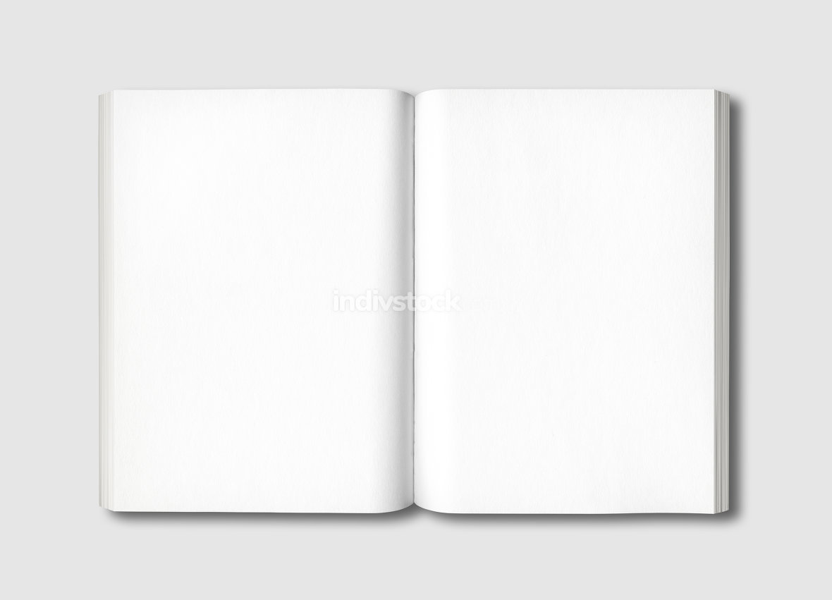 White open book isolated on grey