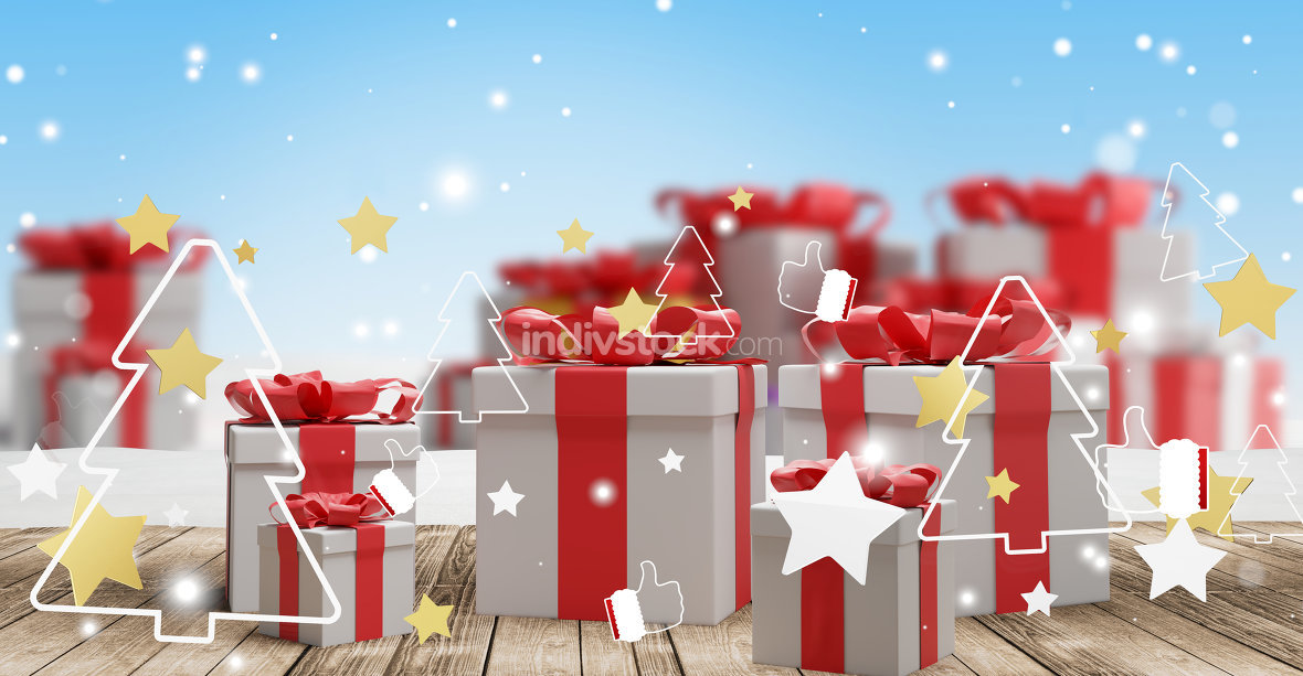 winter christmas festive background design with christmas presen