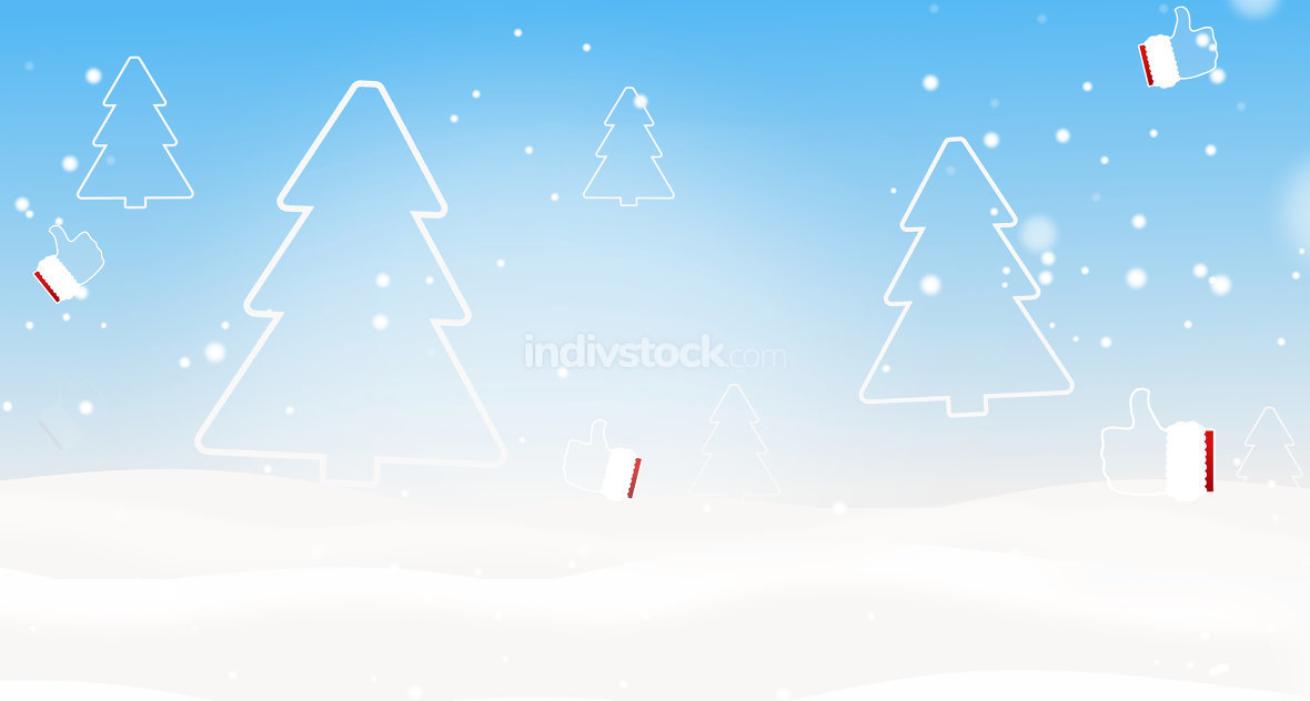 winter christmas silhouette fir and thumbs up 3d-illustration