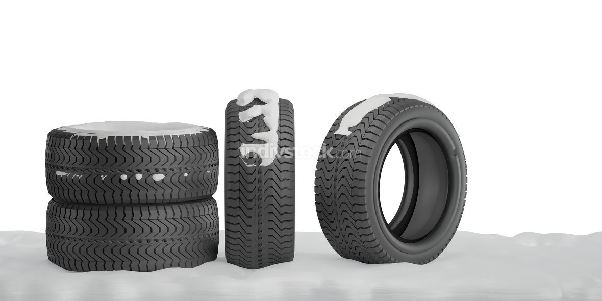 winter tires with snow 3d-illustration