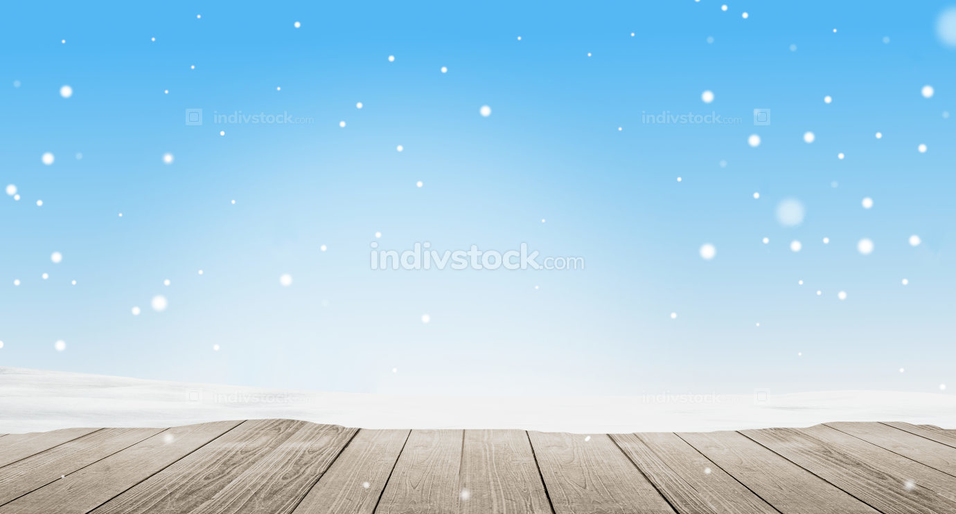 winter wooden ground with snowflakes background 3d-illustration
