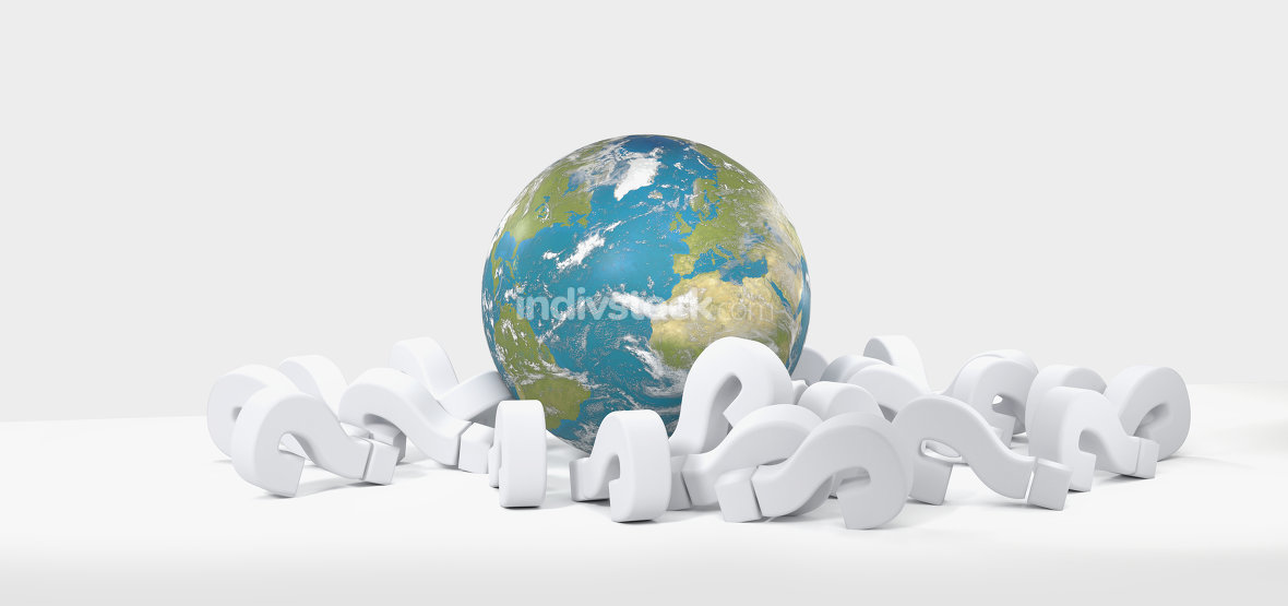 world globe question marks 3D-Illustration