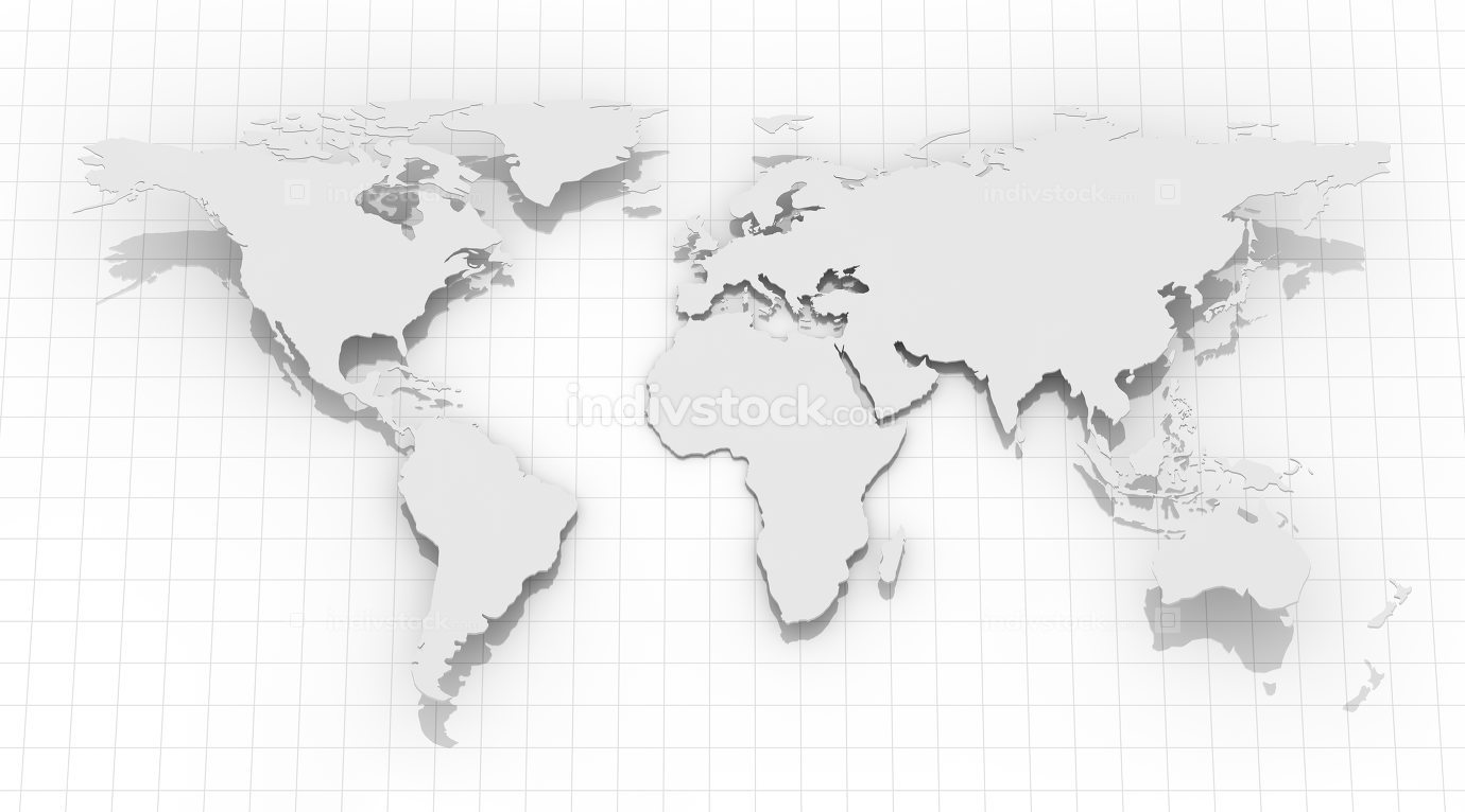 World Map on Grid Background