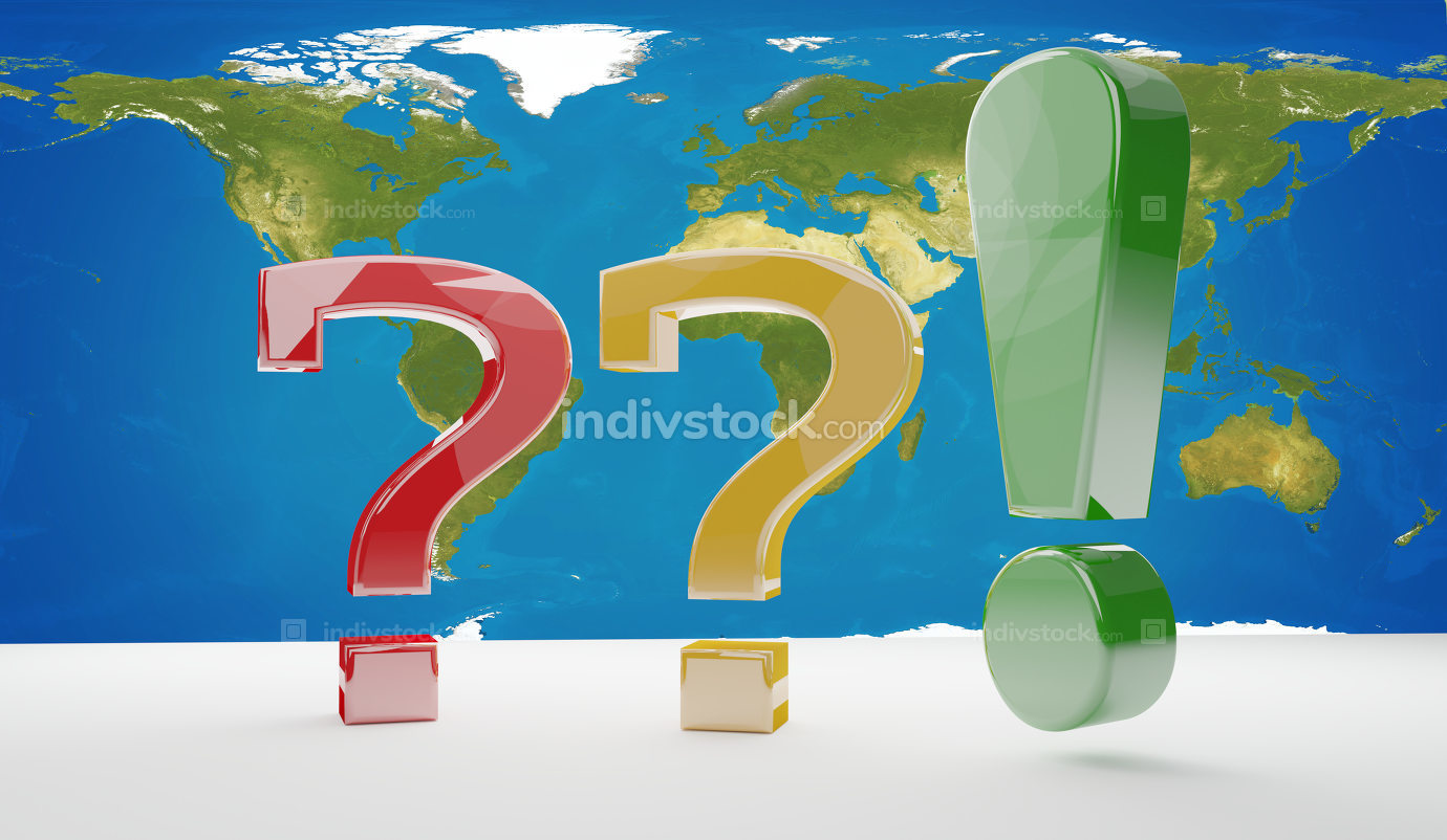 world map questions marks 3d-illustration. elements of this imag