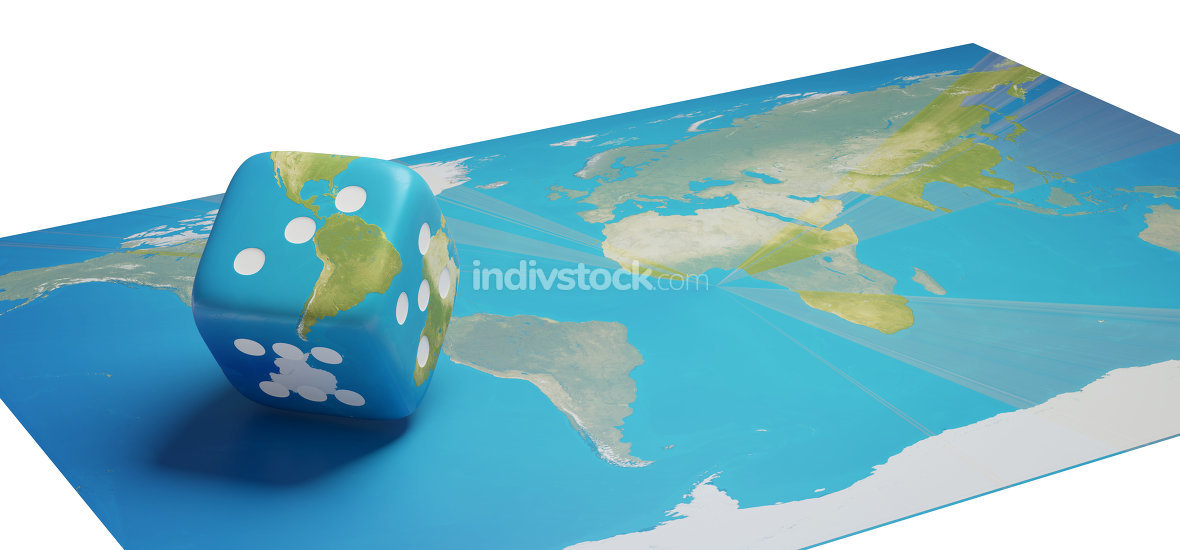 world map with cube dice america 3d-illustration
