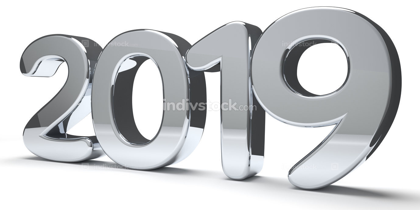 year 2019 silver metallic bold numbers 3d render