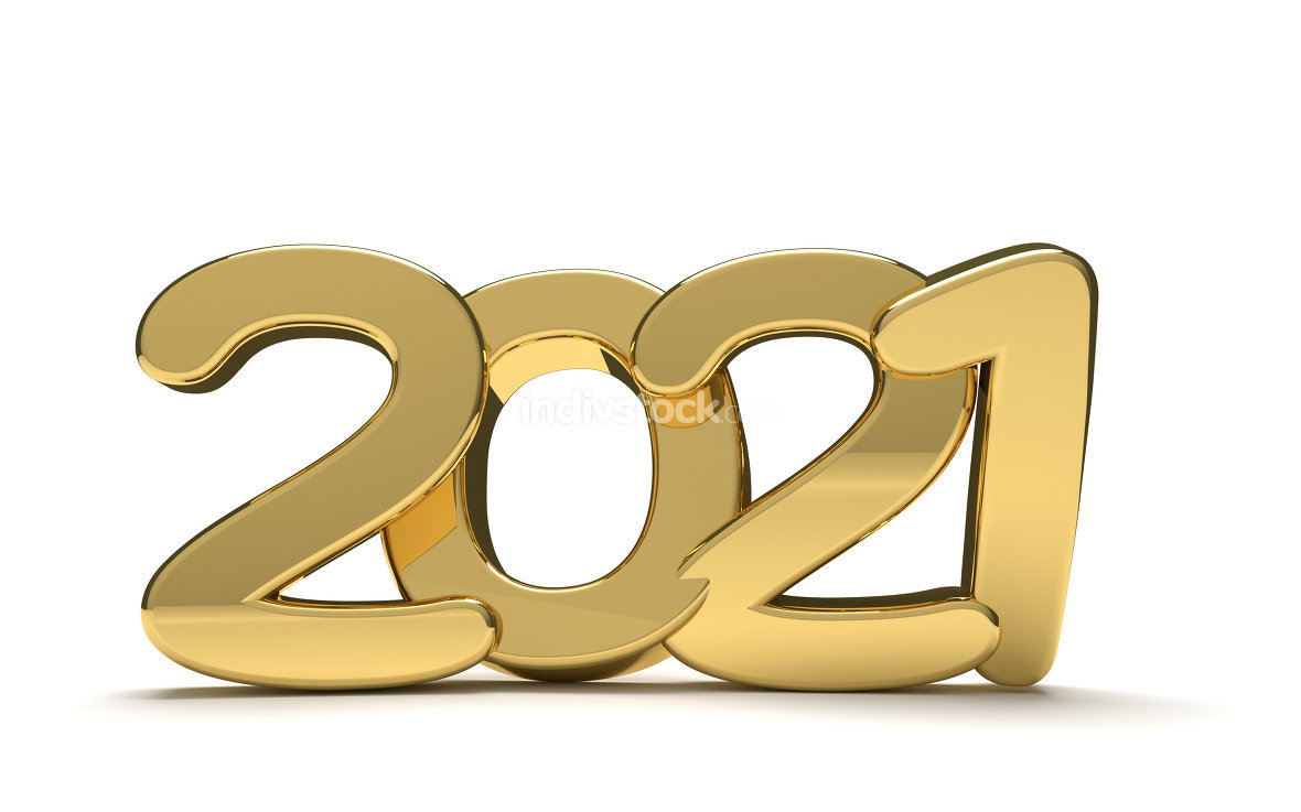 year 2021 golden bold 3d render isolated