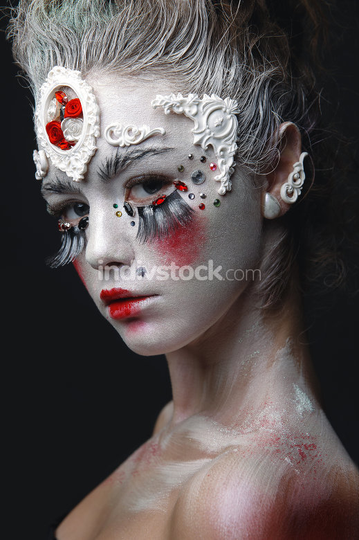 Young girl with a white hair and creative makeup