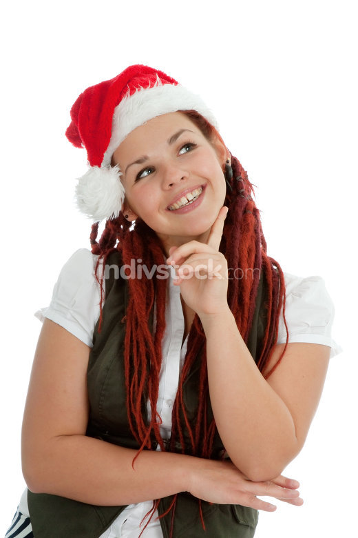 Young modern christmas girl isolated on white background