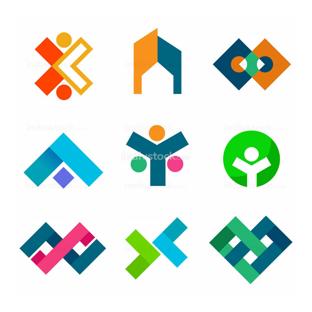 Abstract Corporate Block Symbol Design Set