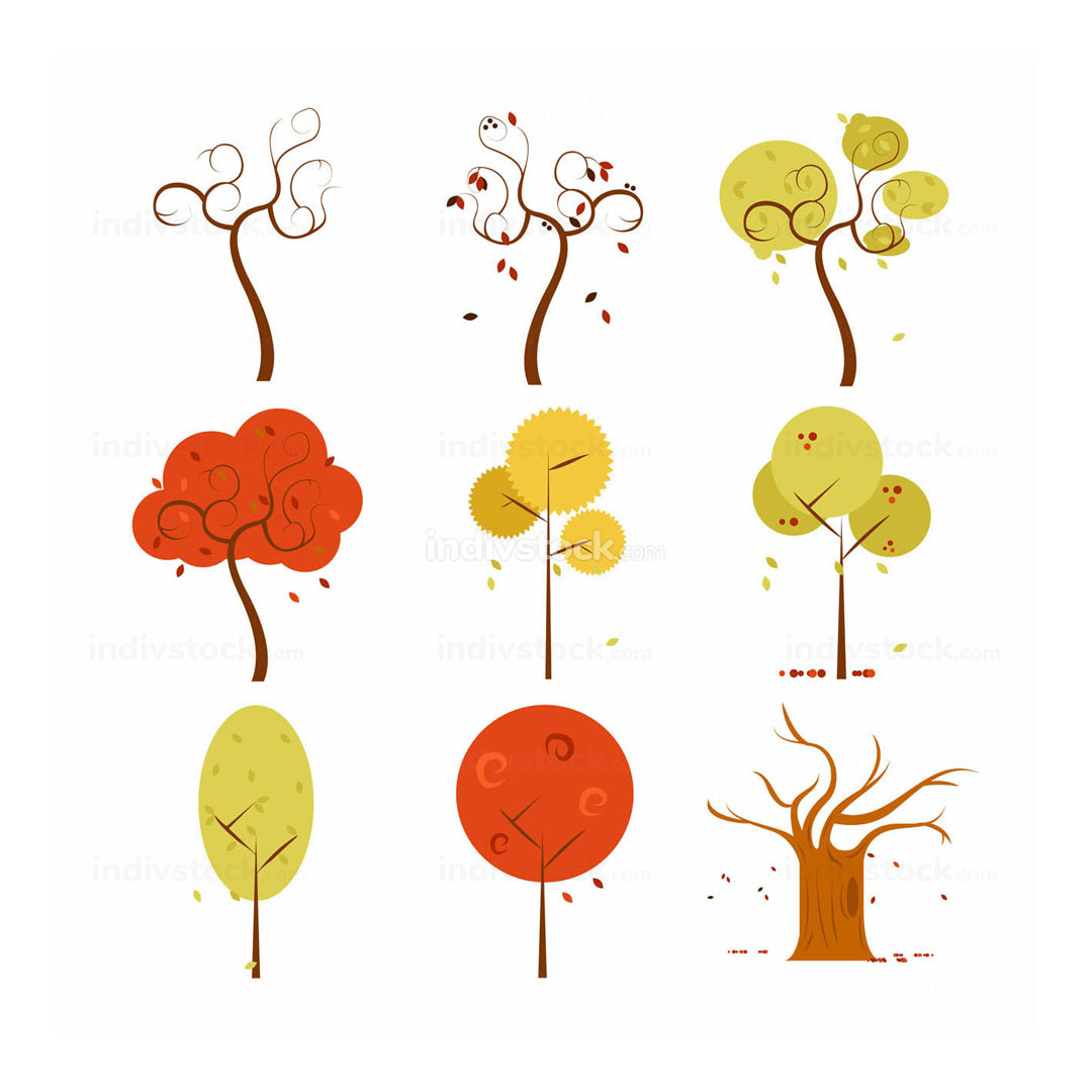 Abstract Dry Autumn Tree Vector Art Illustration Design Set