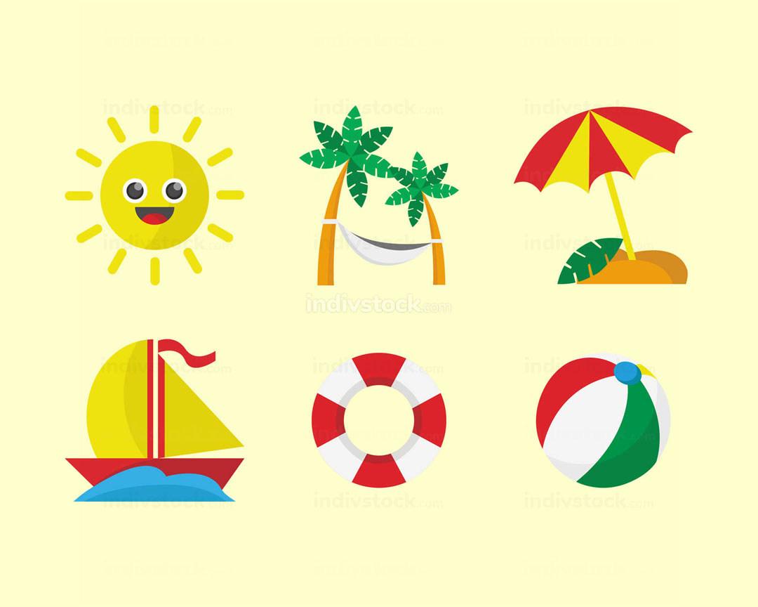 Beach Vacation Icon Set