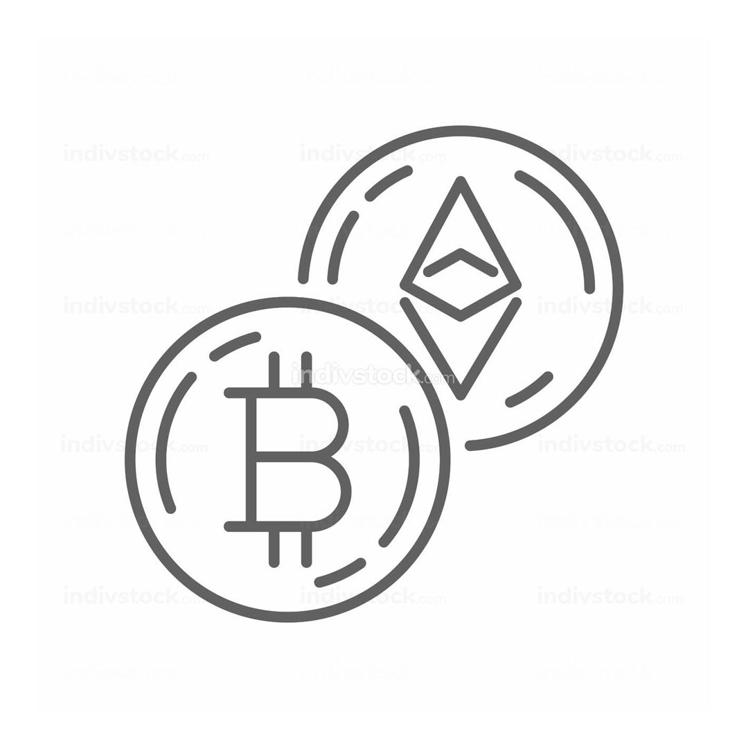 Bitcoin Currency Exchange Thin Line Symbol Icon Design