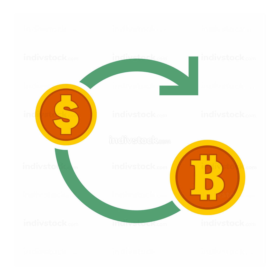 Bitcoin Exchanges Flow Symbol Vector Illustration Graphic