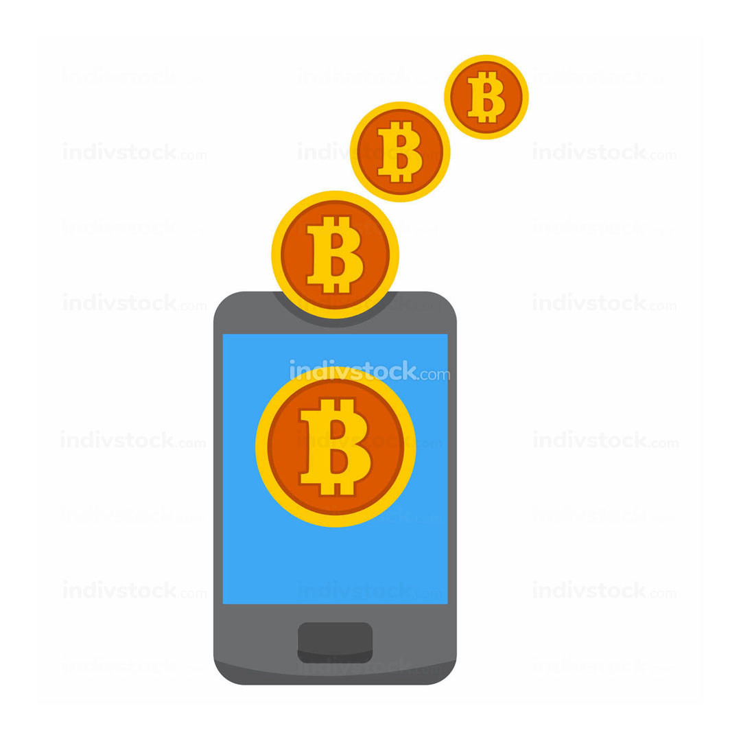 Bitcoin Mobile Mining Transfer Vector Illustration Graphic