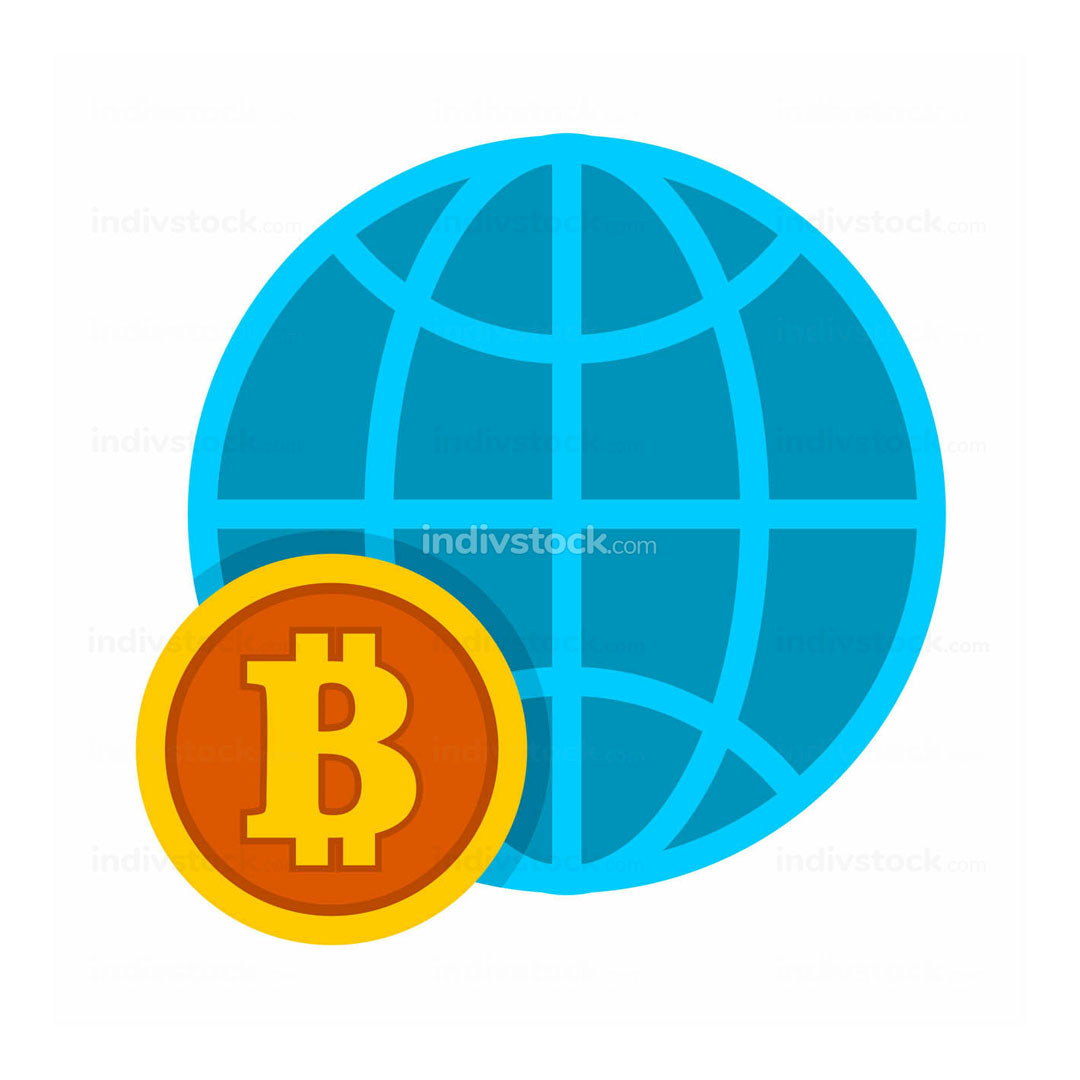 Bitcoin Worldwide Global Trend Vector Illustration Graphic