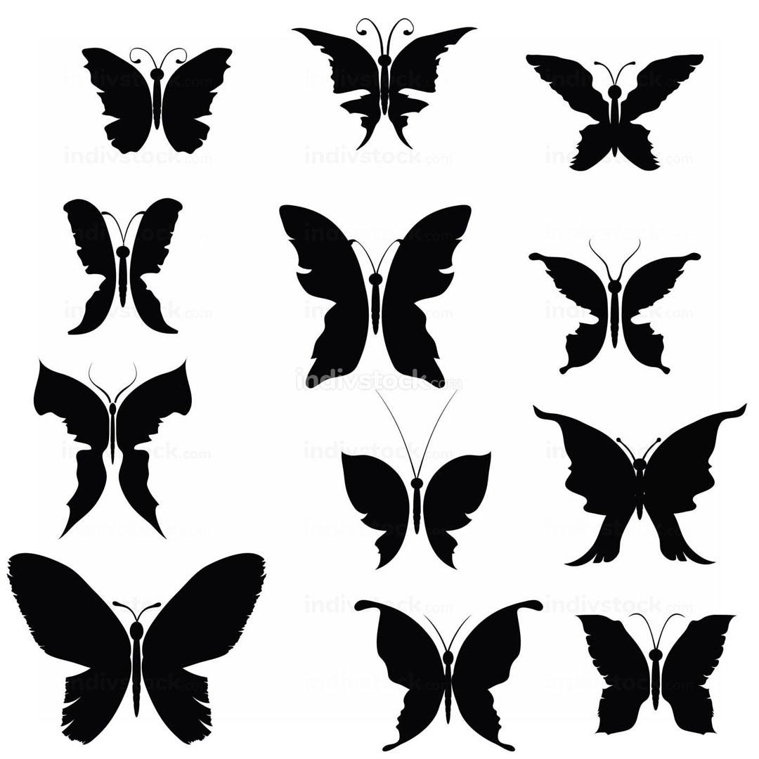 Black Silhouettes Butterflies