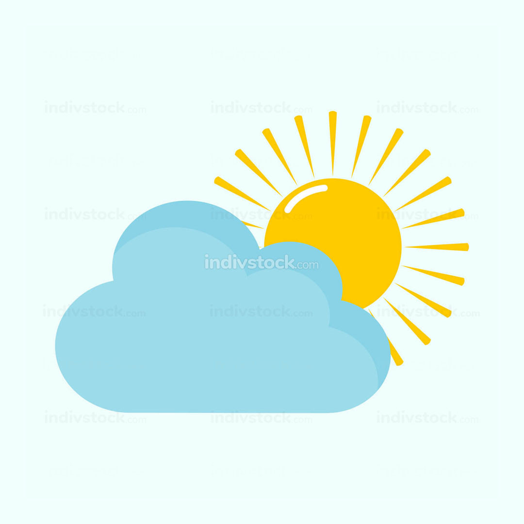 Bright Cloudy Day Light Vector Illustration