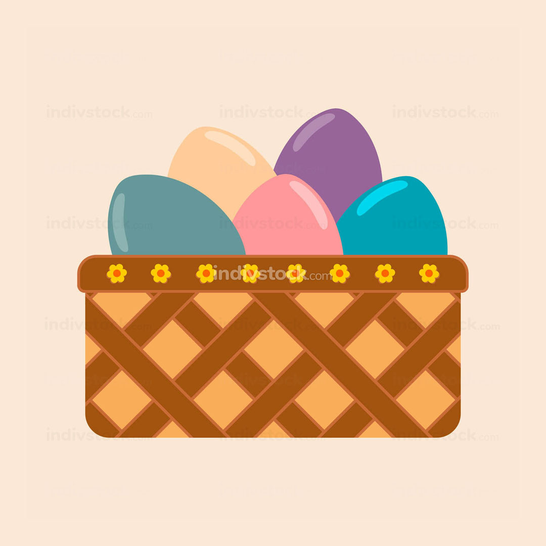 Bucket of Colored Eggs Vector Illustration Graphic