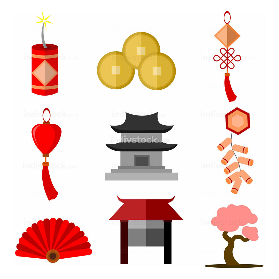 Chinese Culture Simple Icon Vector Illustration Graphic Set