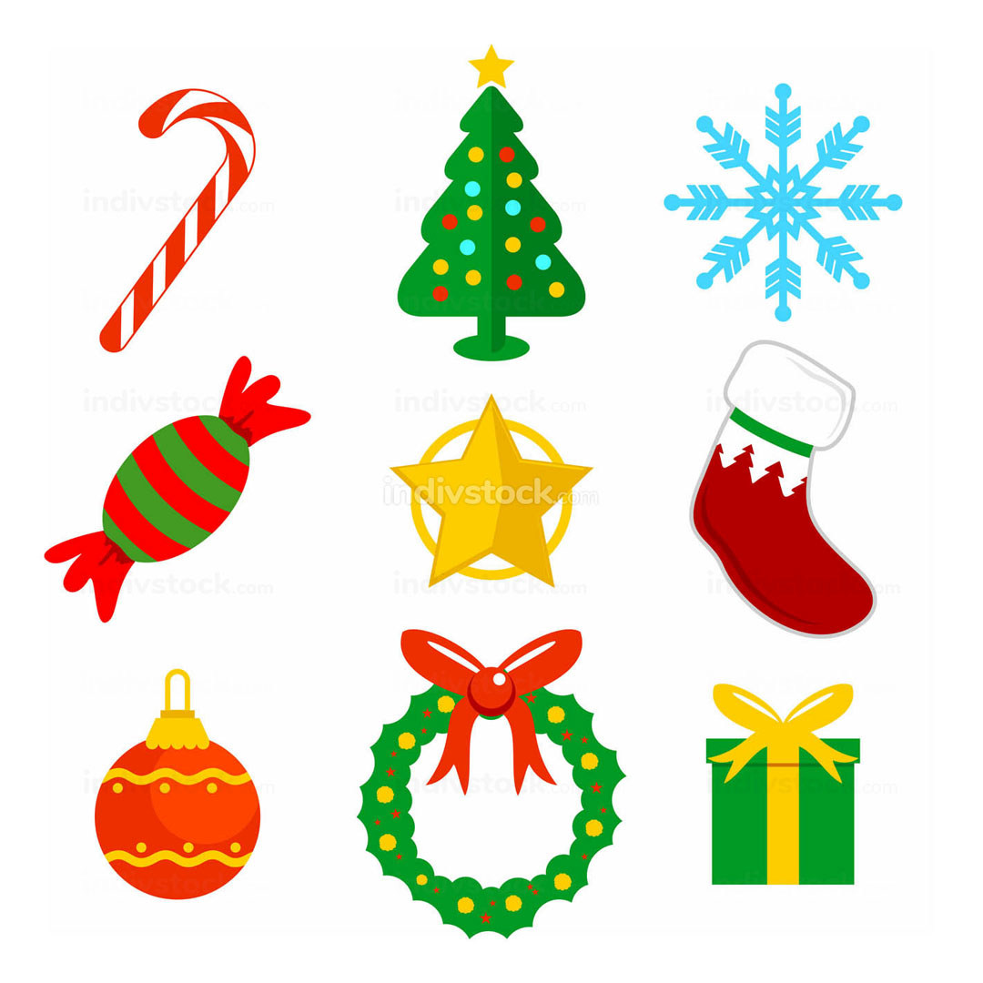 Christmas Flat Icons Vector Illustration