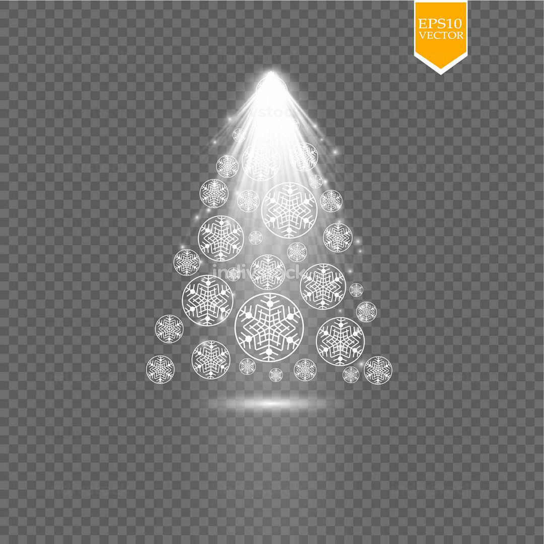 Christmas tree of snowflakes on transparent backgraund