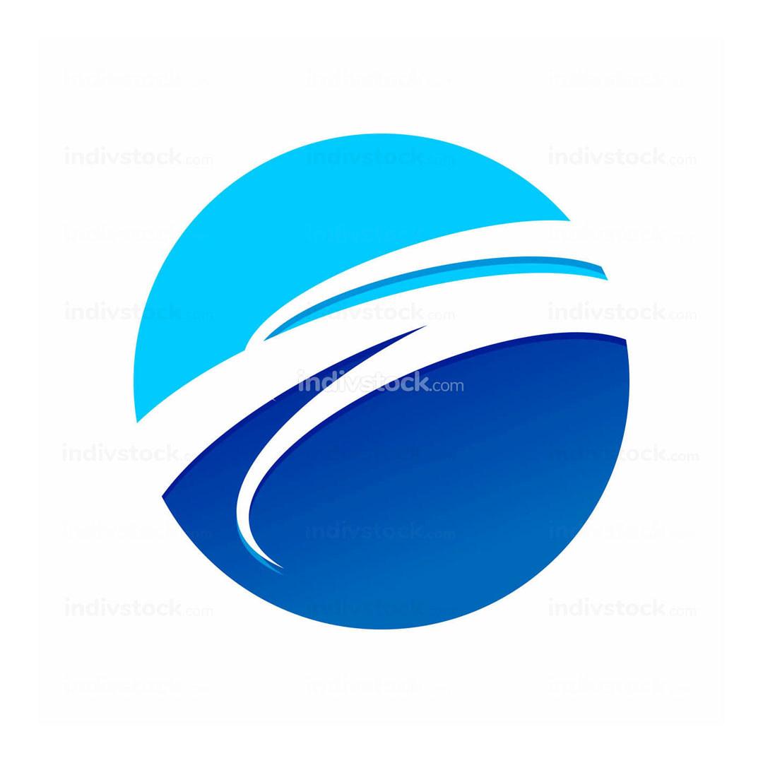 Circular Blue Wave Symbol Logo Design