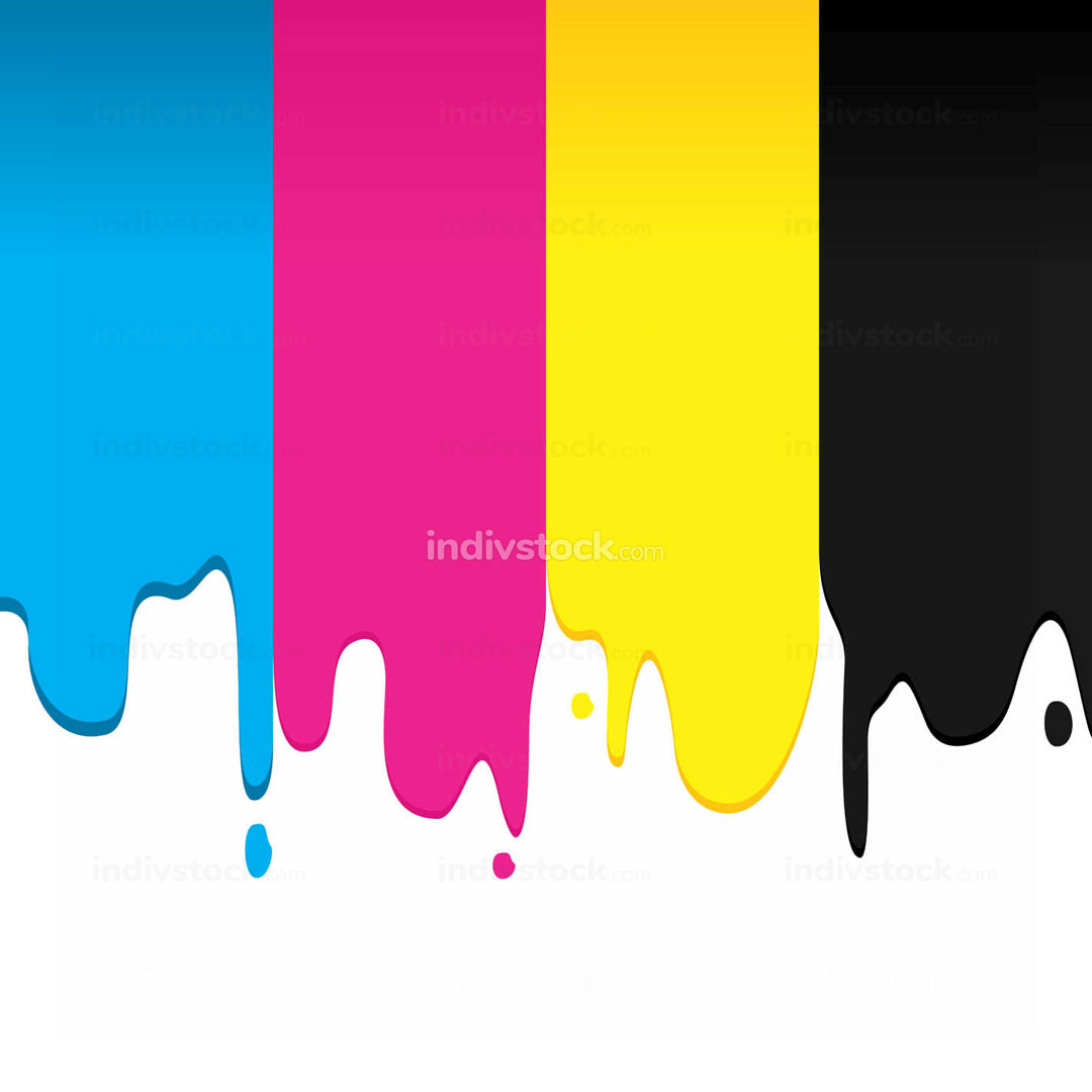 CMYK Paint Dripping Vector Graphic Background