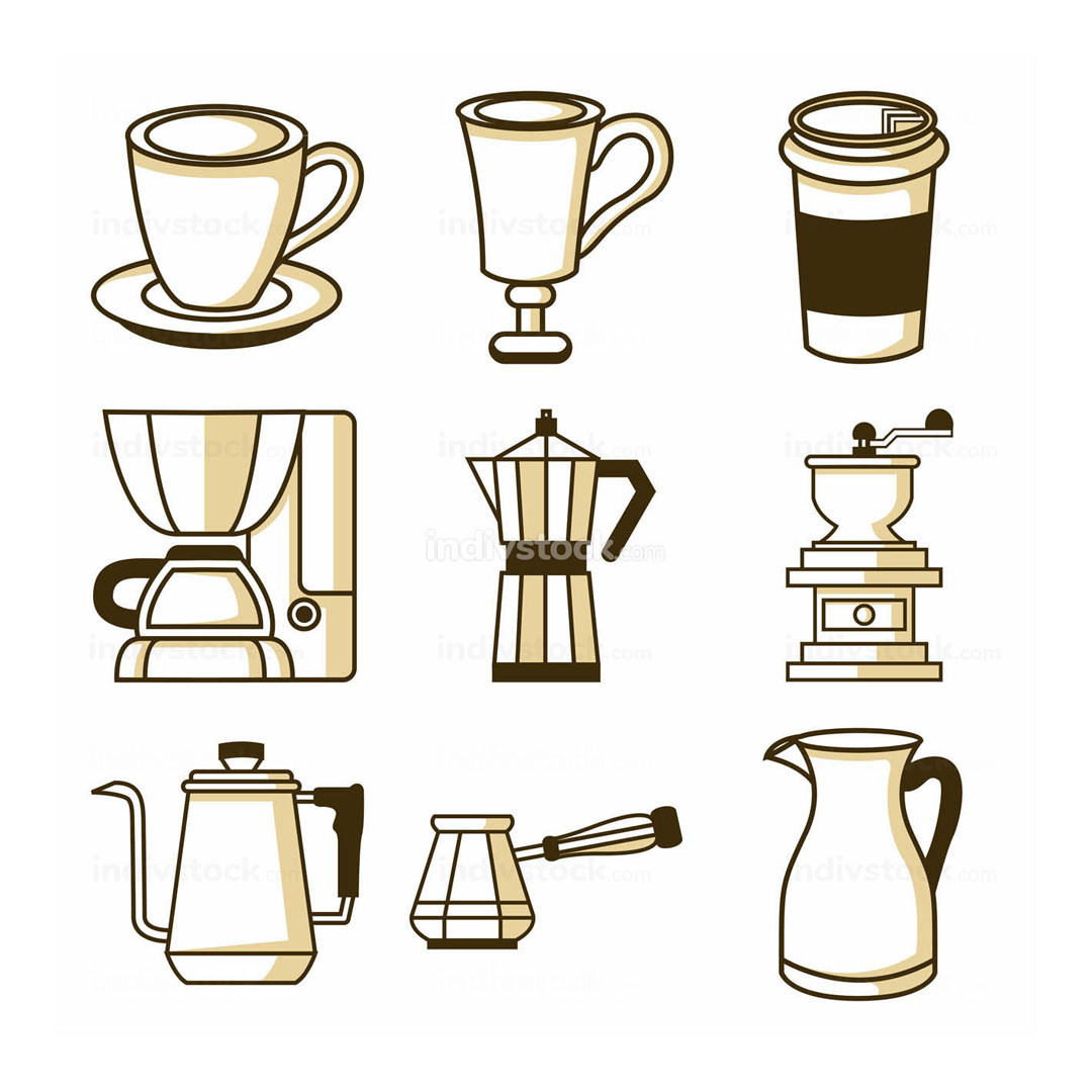 Coffee Shop Related Equipment Illustration Design Set