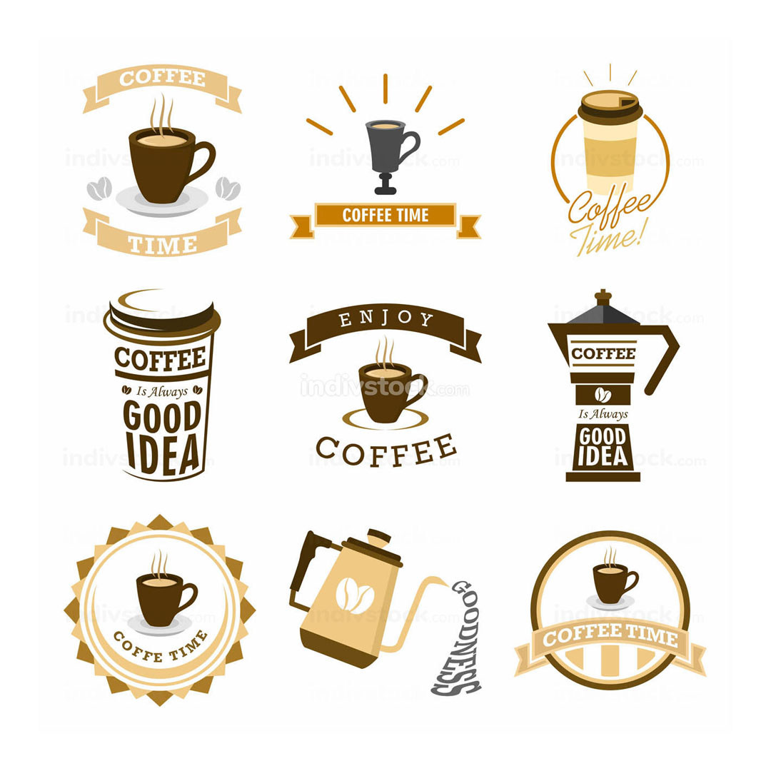 Coffee Time Various Mural Lettering Typography Illustration Design Set
