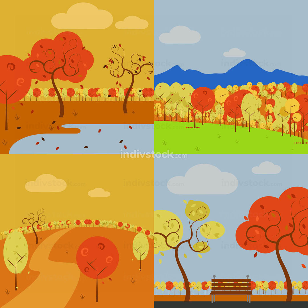 Collection of Simple Vector Art Autumn Scenery Illustration Graphic Design Set