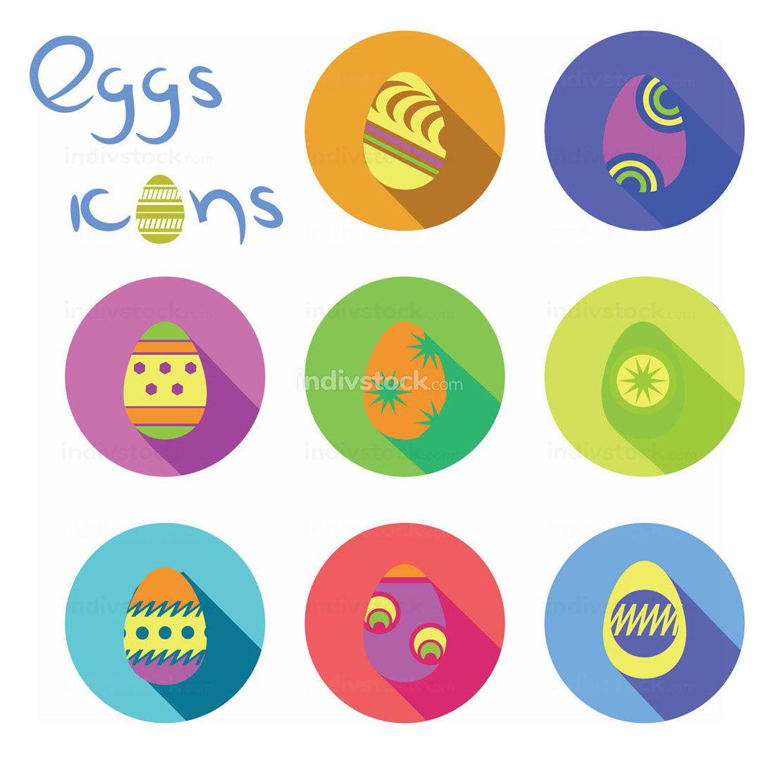 Colorful eggs icons