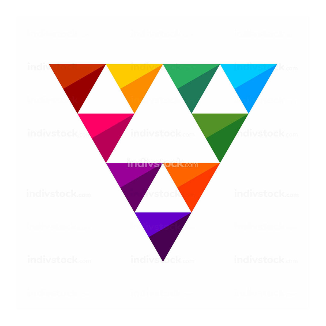 Colorful Triangle Gems Symbol Logo Design